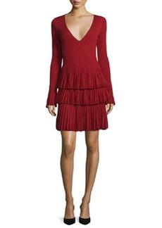 Diane von Furstenberg Sharlynn Long-Sleeve Tiered Dress