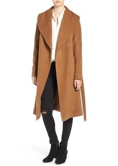 Diane von Furstenberg Shawl Collar Wool Blend Long Wrap Coat