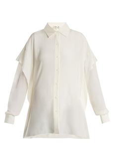 Diane Von Furstenberg Sheer-sleeve silk crepe de Chine shirt