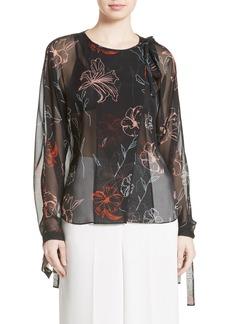 Diane von Furstenberg Sheer Tie Neck Silk Blouse