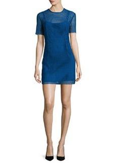 Diane von Furstenberg Short-Sleeve Chain Lace Mini Dress