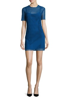 Diane von Furstenberg Short-Sleeve Chain Lace Mini Dress