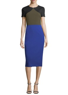 Diane von Furstenberg Short-Sleeve Colorblocked Tailored Midi Dress