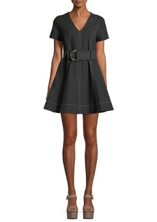 Diane von Furstenberg Short-Sleeve D-Ring Belt Fit-and-Flare Dress