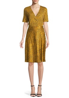 Diane von Furstenberg Short-Sleeve Floral-Print Flared Wrap Dress