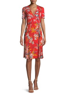 Diane von Furstenberg Short-Sleeve Floral-Print Wrap Dress