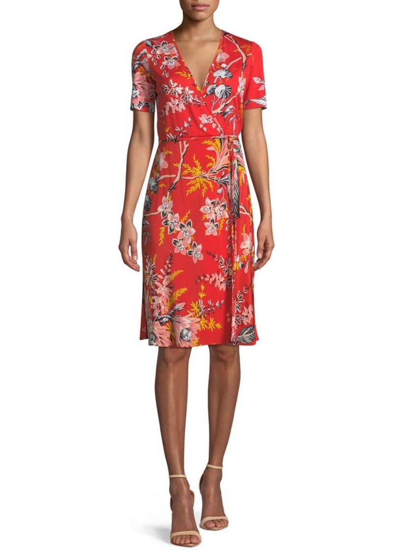 Diane von Furstenberg Short-Sleeve Floral-Print Wrap Dress