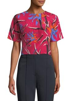 Diane von Furstenberg Short-Sleeve Pintuck Floral-Print Silk Crop Top