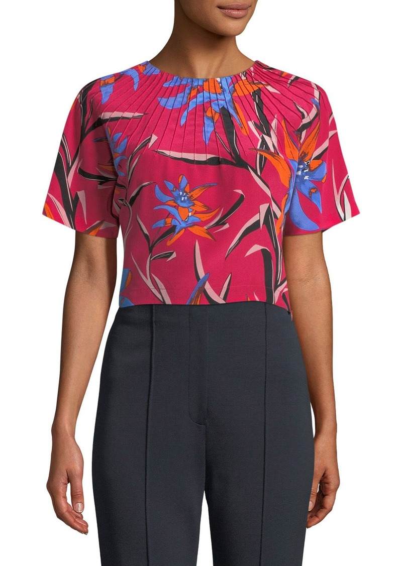 a2d69723ec709c Diane von Furstenberg Short-Sleeve Pintuck Floral-Print Silk Crop Top
