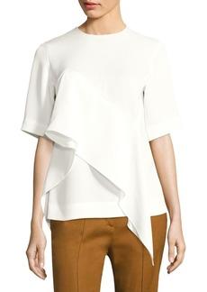 Diane Von Furstenberg Short Sleeve Ruffle Front Blouse