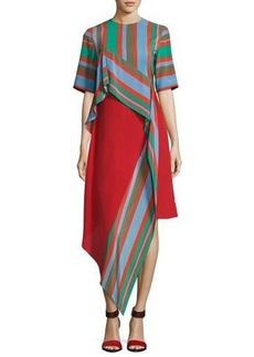 Diane von Furstenberg Short-Sleeve Ruffled Silk Dress