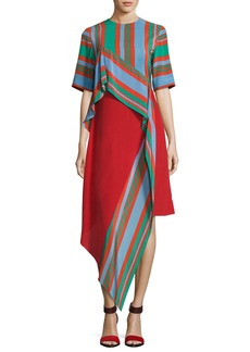 Diane von Furstenberg Short-Sleeve Ruffled Silk Dress