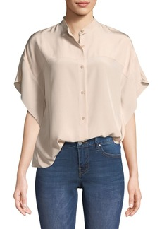 Diane von Furstenberg Short-Sleeve Silk Button-Down Top