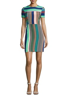 Diane von Furstenberg Short-Sleeve Striped Tailored Mini Dress