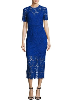 Diane Von Furstenberg Short-Sleeve Tailored Overlay Midi Dress