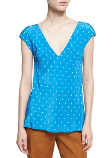 Diane von Furstenberg Short-Sleeve V-Neck Silk Blouse