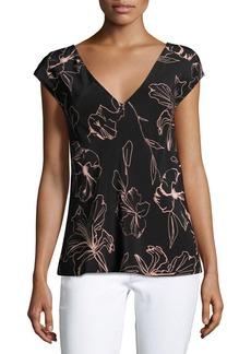 Diane von Furstenberg Short-Sleeve V-Neck Silk Blouse