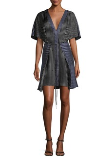 Diane von Furstenberg Short-Sleeve V-Neck Tie-Front Striped Dress