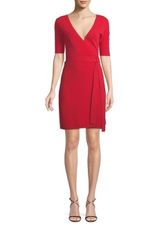 Diane Von Furstenberg Shot-Sleeve Sweater Wrap Dress