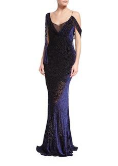 Diane von Furstenberg Shoulder-Knot Sleeveless Velvet Devoré Slip Gown