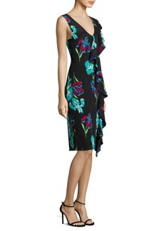 Diane von Furstenberg Side Ruffle Silk Floral Dress