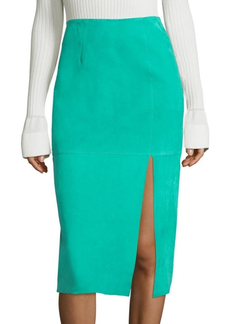 Diane von Furstenberg Side Slit Lamb Suede Pencil Skirt