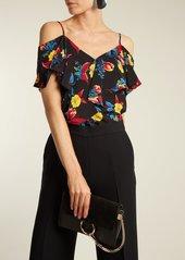 Diane Von Furstenberg Silese floral-print cut-out shoulder silk top
