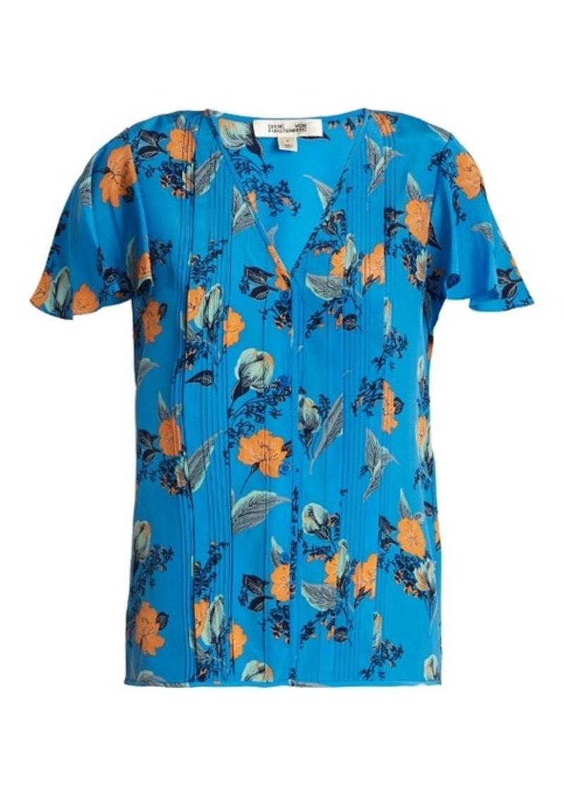 Diane Von Furstenberg Silese floral-print pleated silk top