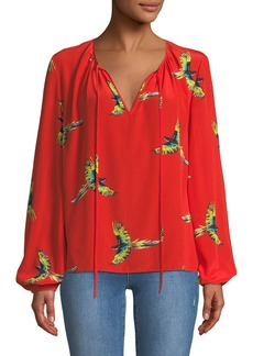 Diane von Furstenberg Silk Bird-Print Long-Sleeve Blouse