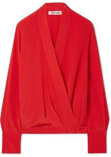 Silk crepe de chine wrap blouse