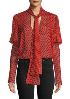 Diane von Furstenberg Silk Dot-Print Tie-Neck Blouse