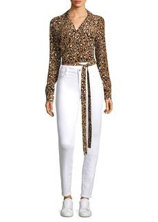 Diane Von Furstenberg Silk Leopard-Print Blouse