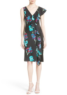 Diane von Furstenberg Silk Side Ruffle Sheath Dress