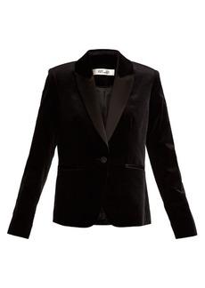Diane Von Furstenberg Single-breasted contrast-lapel velvet blazer