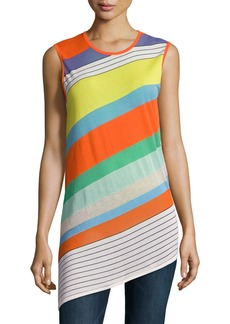 Diane Von Furstenberg Sleeveless Asymmetric-Hem Shell Top
