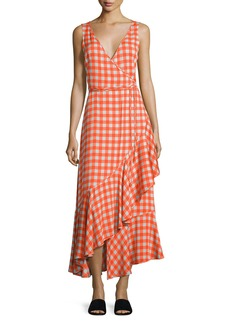Diane von Furstenberg Sleeveless Asymmetric Ruffle Hem Midi Dress