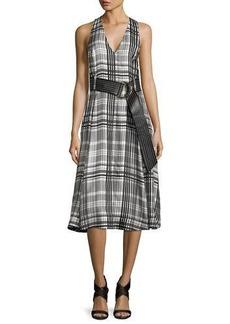 Diane von Furstenberg Sleeveless Belted Flared Midi Dress