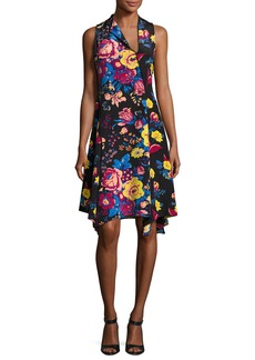 Diane von Furstenberg Sleeveless Bias-Cut Floral-Print Silk Dress