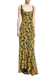 Diane von Furstenberg Sleeveless Bias Slip Scoop-Neck Printed Silk Evening Gown