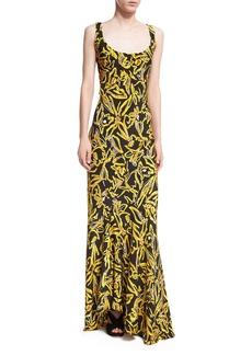 Diane von Furstenberg Sleeveless Bias Slip Scoop-Neck Printed Silk Evening Gown