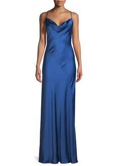 Diane von Furstenberg Sleeveless Cowl-Neck Bias-Seam Satin Evening Gown