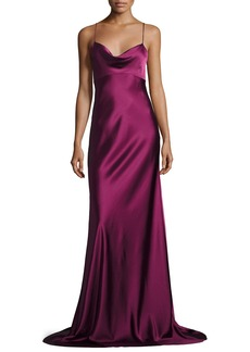 Diane von Furstenberg Sleeveless Cowl-Neck Satin Gown