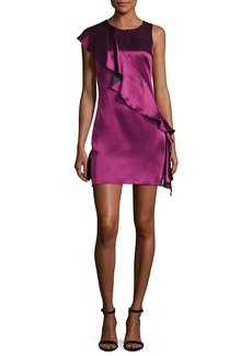 Diane von Furstenberg Sleeveless Crossover-Ruffle Satin Cocktail Dress