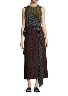 Diane von Furstenberg Sleeveless Dot-Print Silk Ruffle-Trim Maxi Dress
