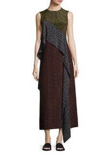 Diane von Furstenberg Sleeveless Dot-Print Silk Ruffle-Trim Maxi Dress