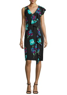 Diane von Furstenberg Sleeveless Floral-Print Ruffled Cocktail Dress