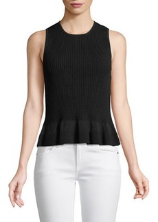 Diane Von Furstenberg Sleeveless Knit Peplum Top