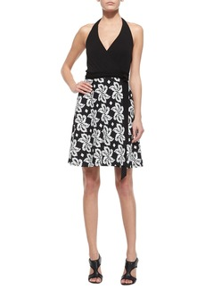 Diane von Furstenberg Sleeveless Leaf-Print Wrap Dress