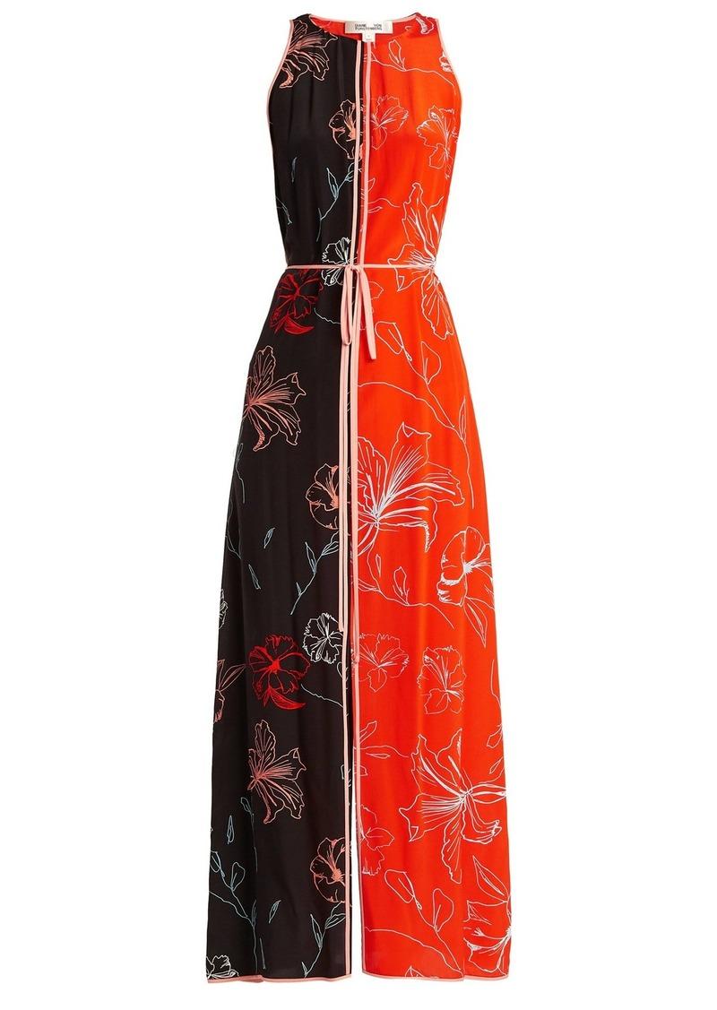 Diane Von Furstenberg Sleeveless open-back floral-print silk dress
