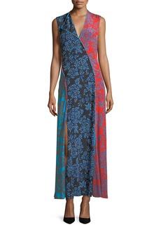 Diane von Furstenberg Sleeveless Paneled Bias-Cut Floor-Length Dress